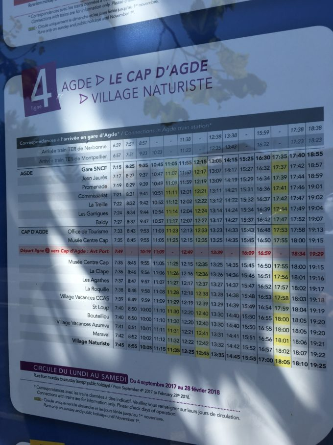 アグド駅バス時刻表